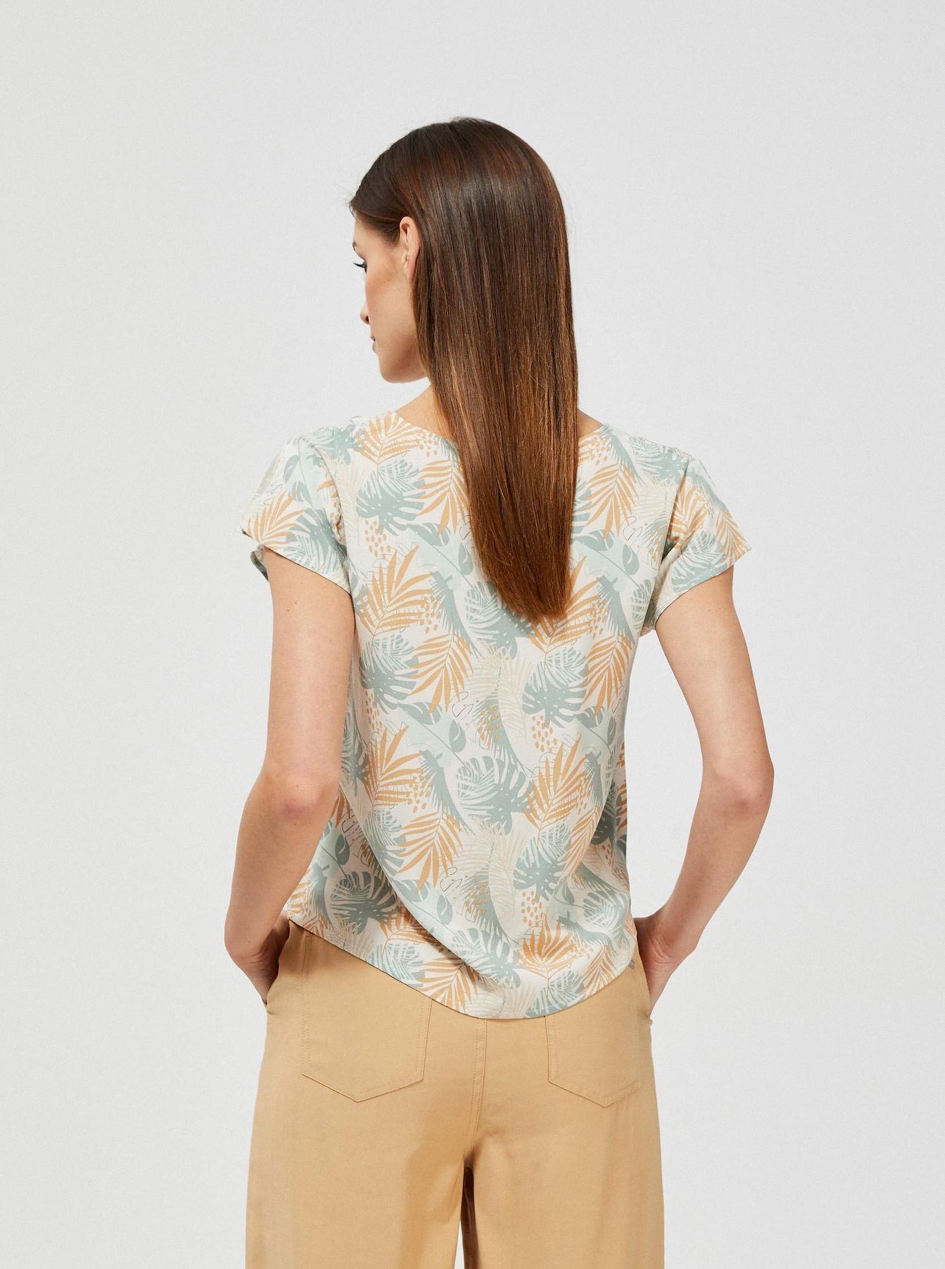 Moodo bej bluză cu motiv floral