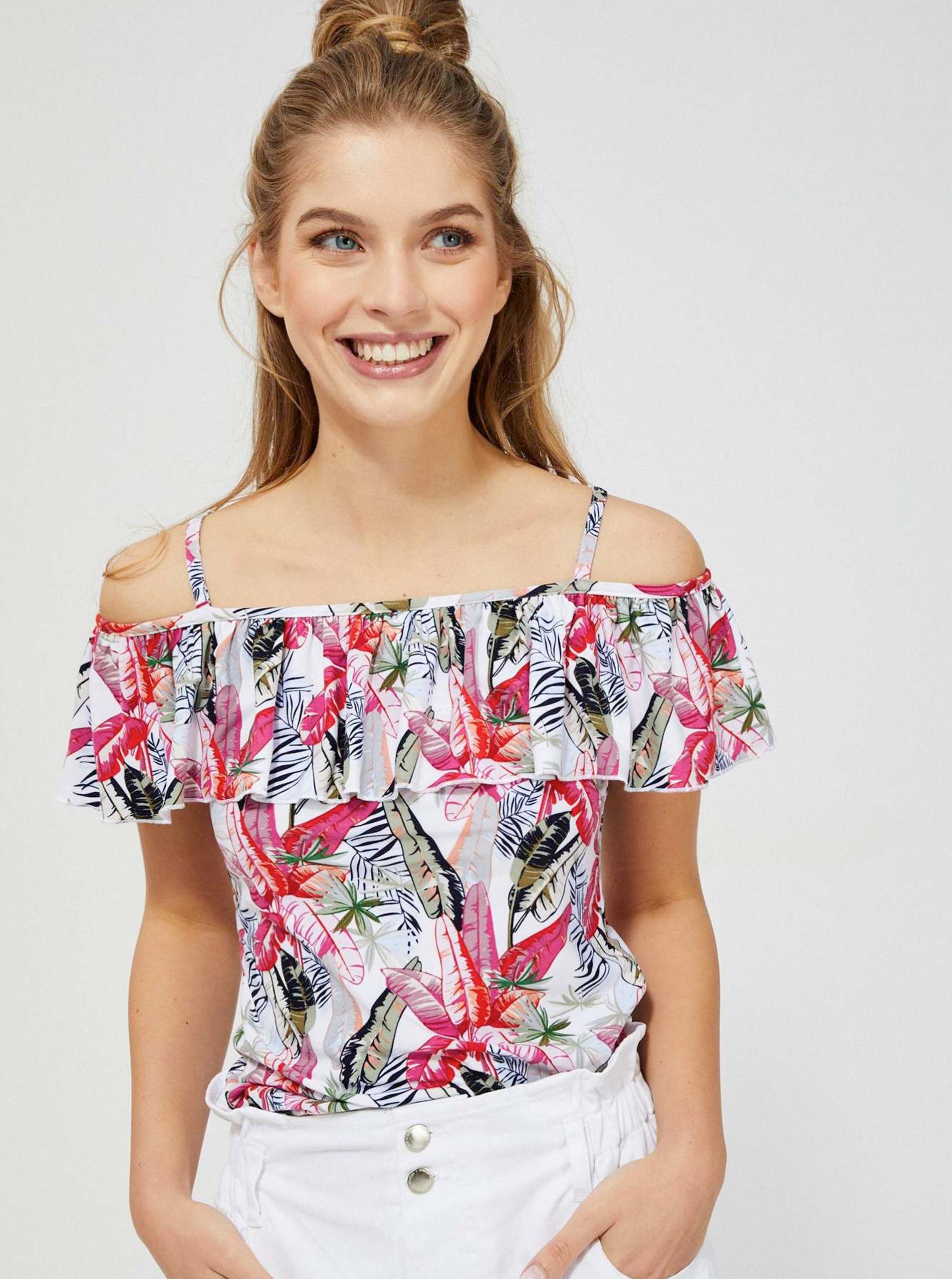 Moodo albe bluză cu motiv floral