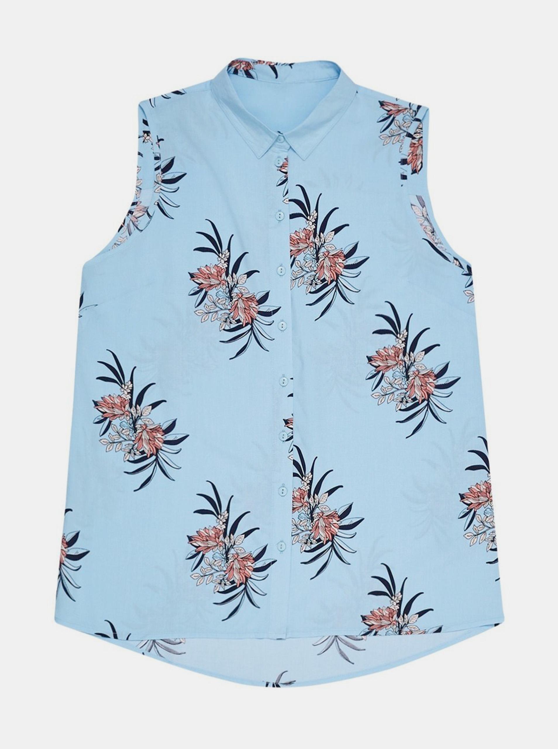 Moodo albastre bluză cu motiv floral