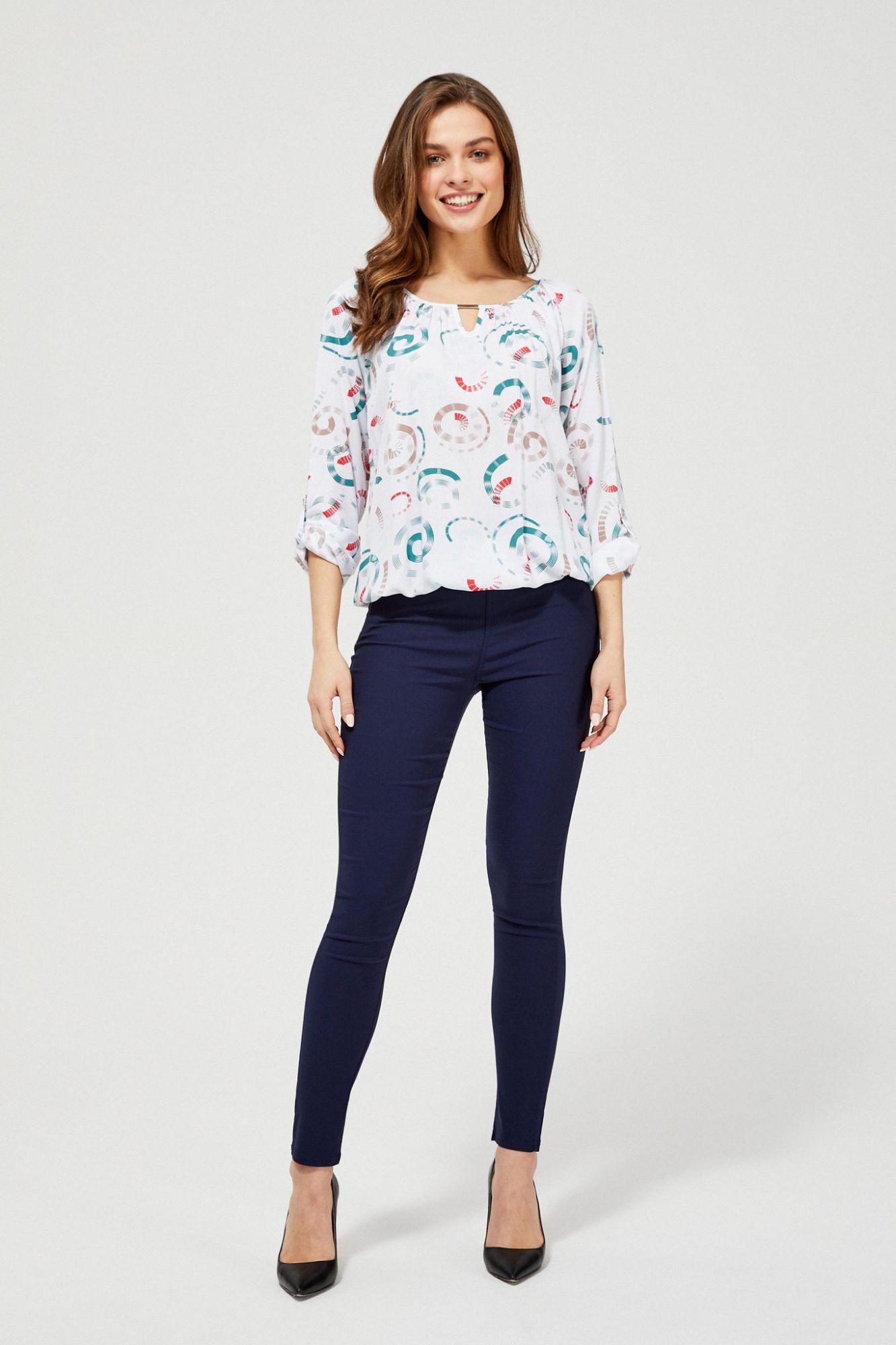 Moodo albe bluză cu tipar
