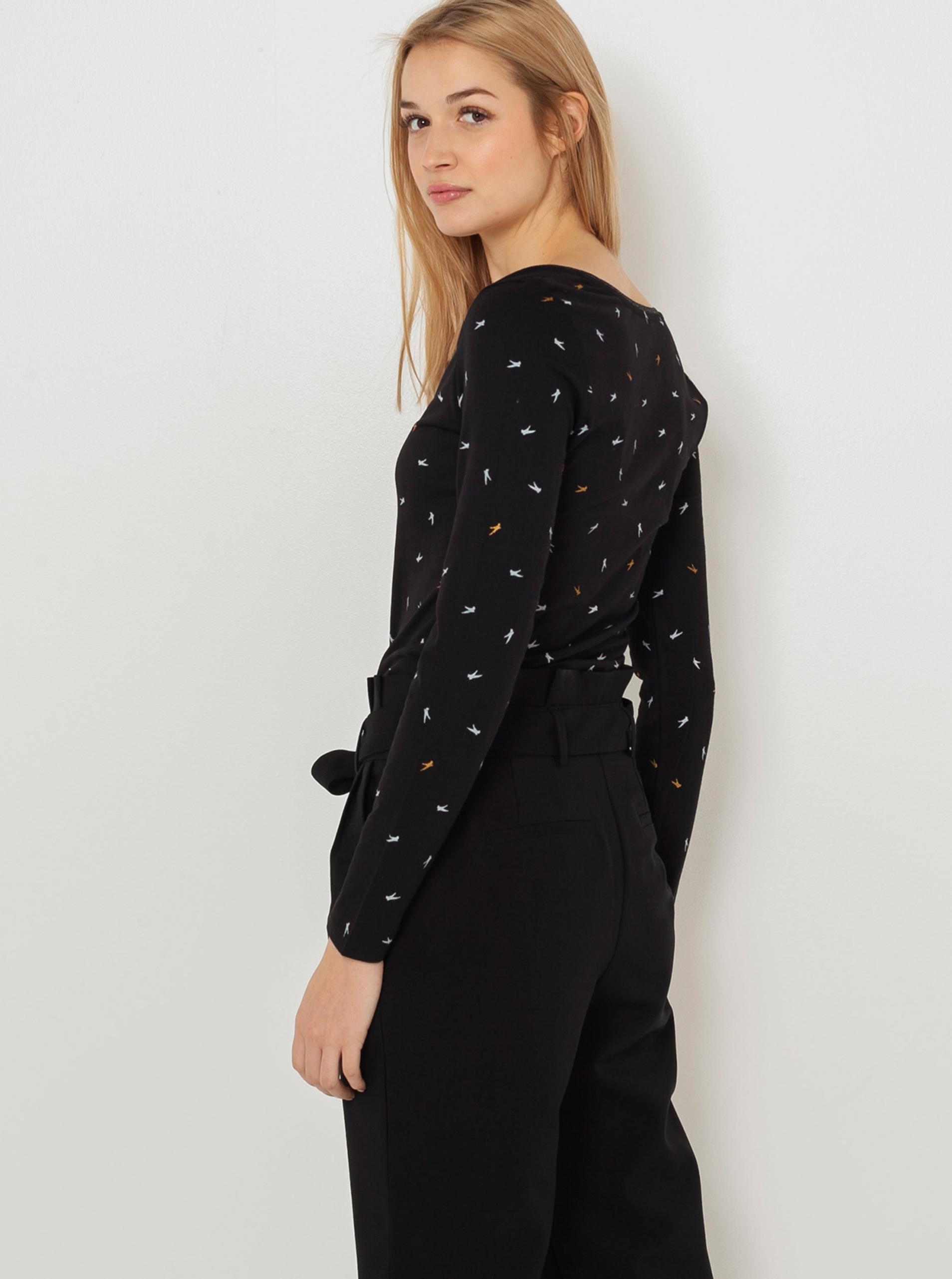 CAMAIEU negre tricou cu tipar