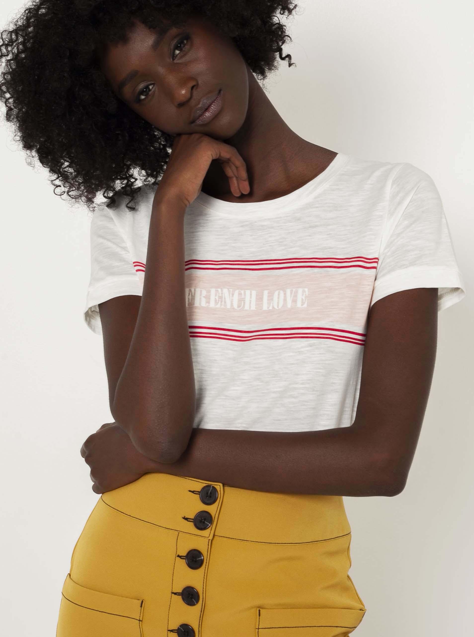 CAMAIEU albe de dama tricou cu imprimeu