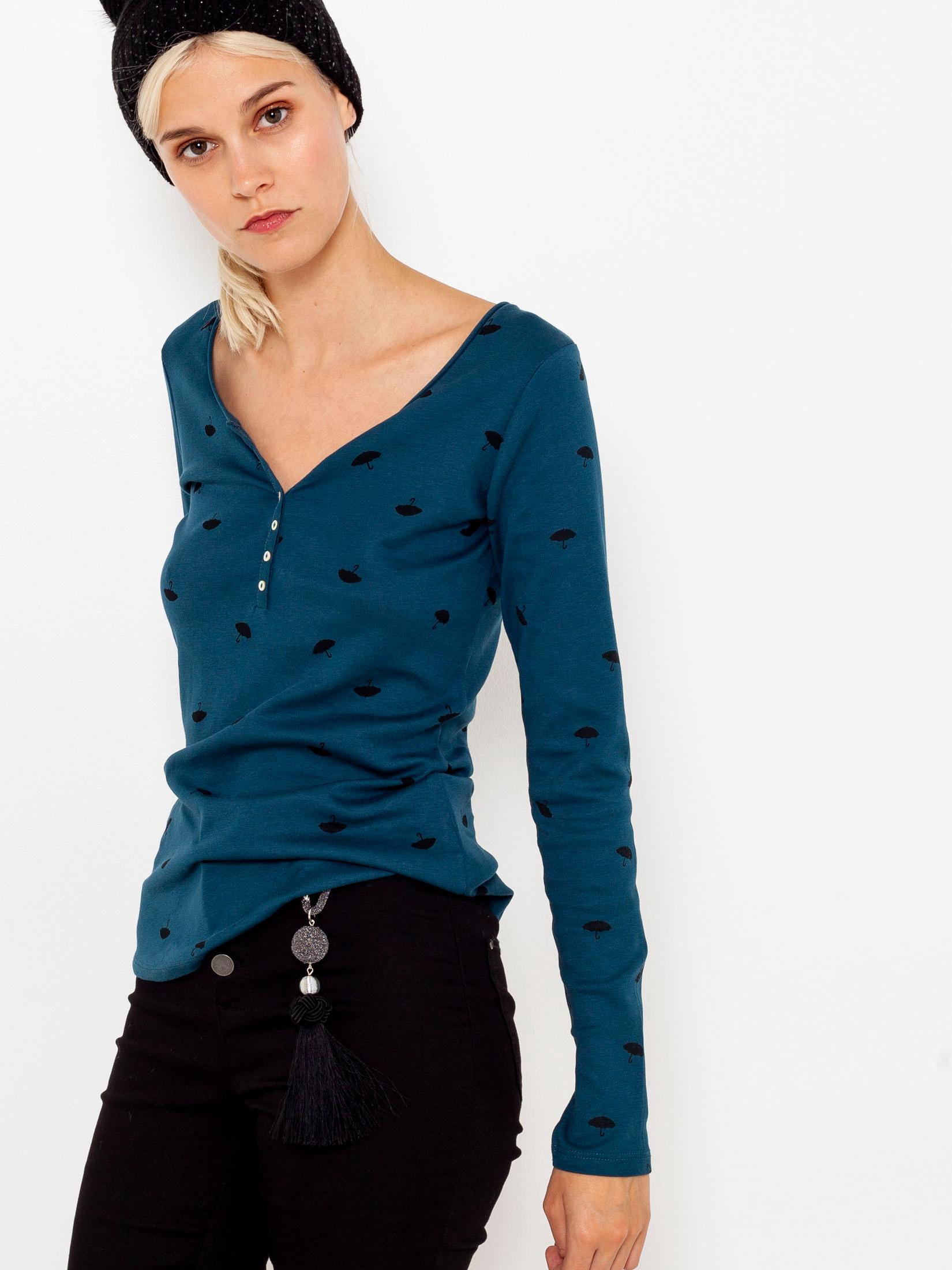Tricou cu model albastru CAMAIEU