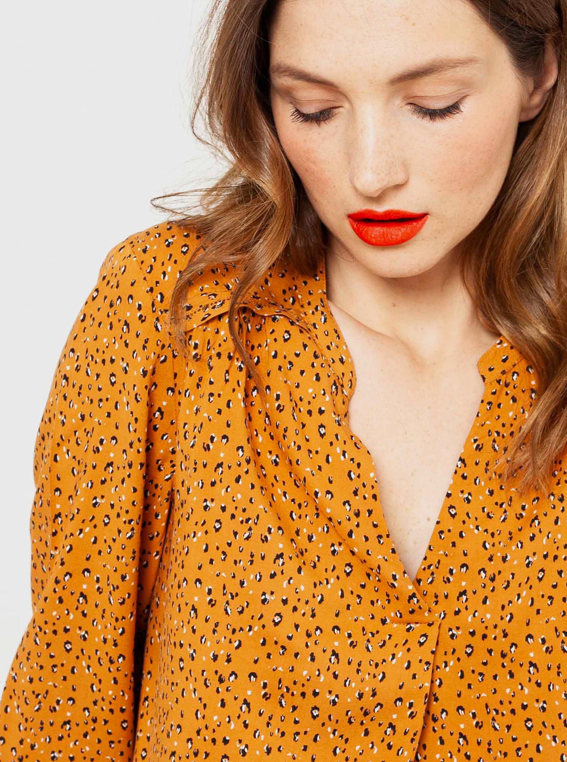 CAMAIEU mustar de dama bluză cu tipar