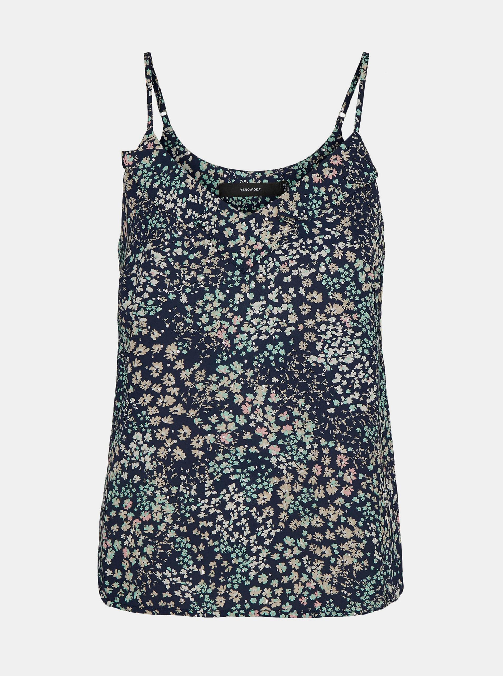 Vero Moda albastre top Hannah cu motiv floral