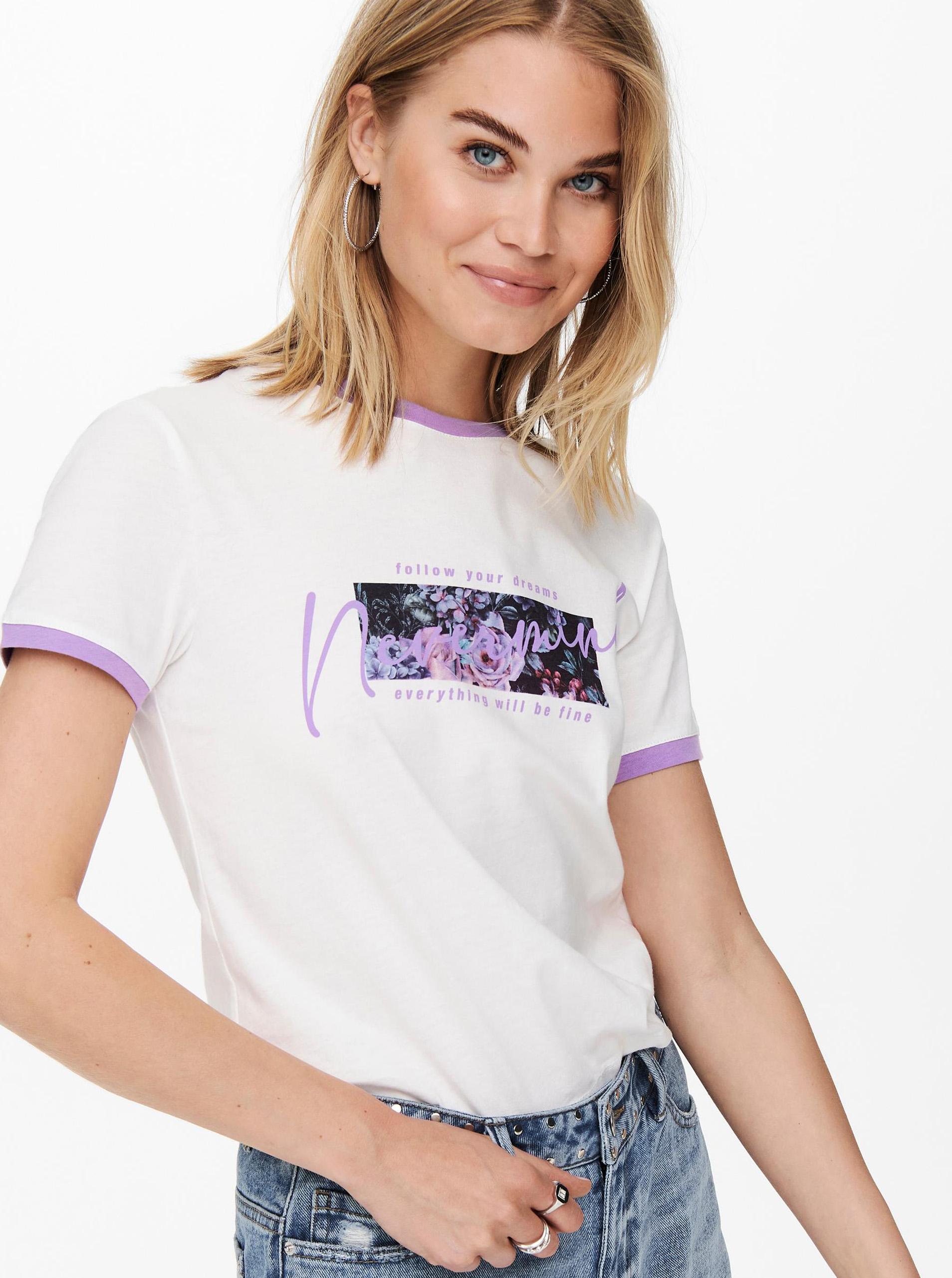 Jacqueline de Yong albe tricou Nuka cu imprimeu