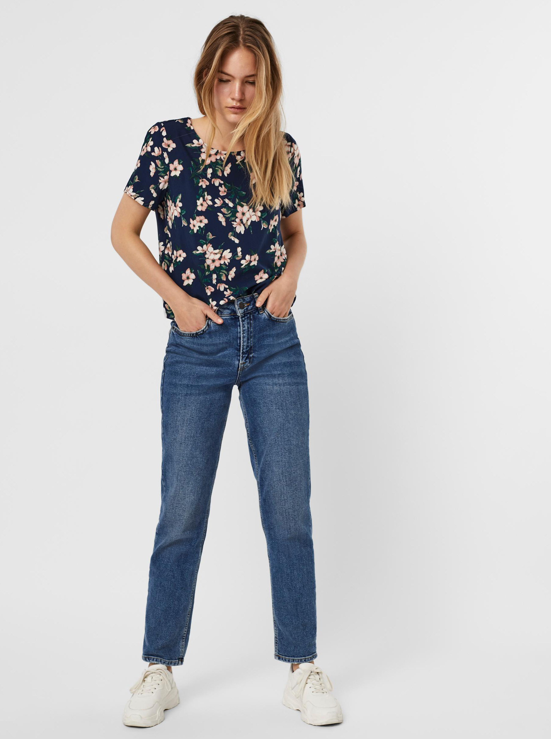 Vero Moda albastre bluză Easy cu motiv floral