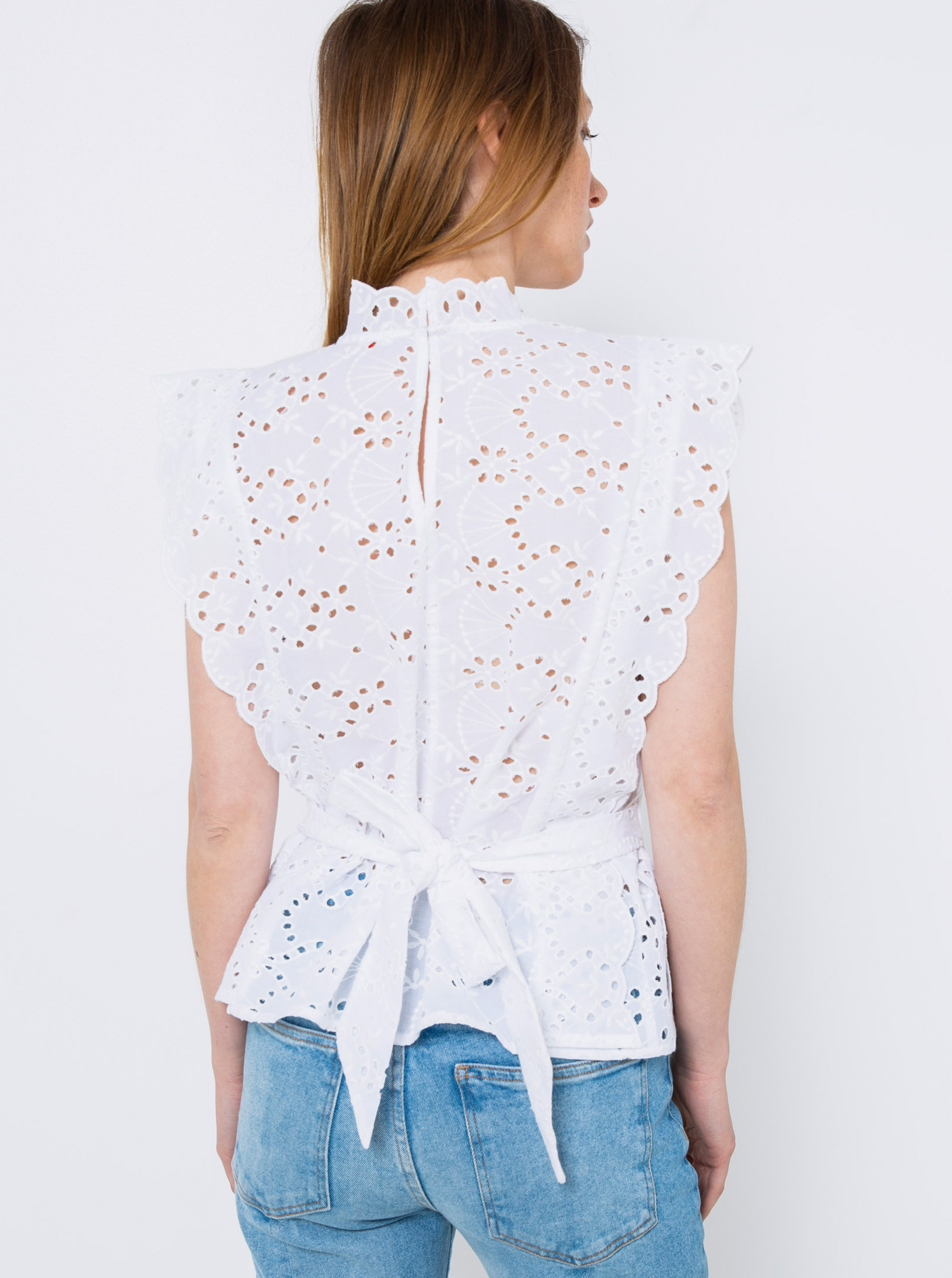 CAMAIEU albe bluză cu lemn