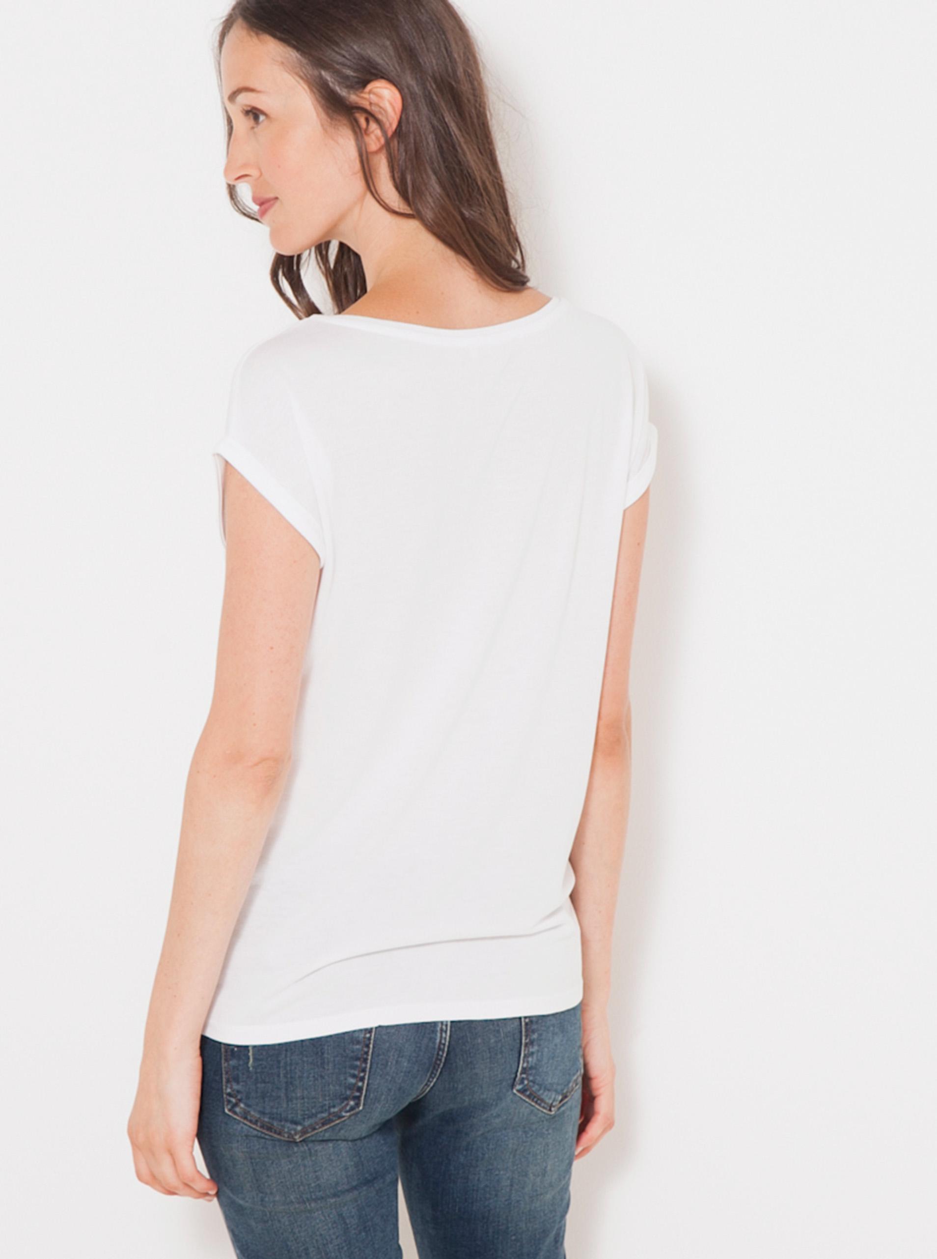Tricou alb cu imprimeu CAMAIEU