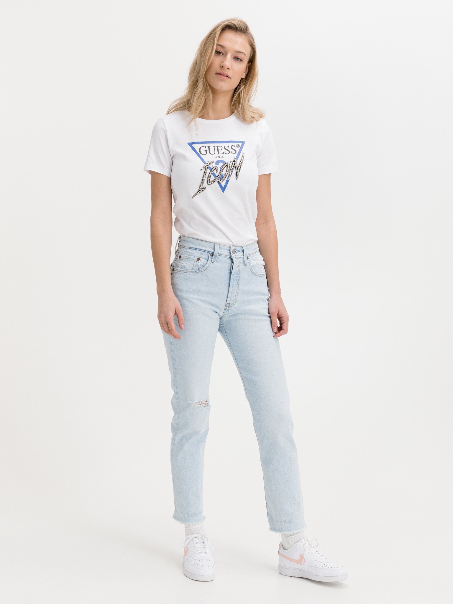 Guess albe tricou Icon