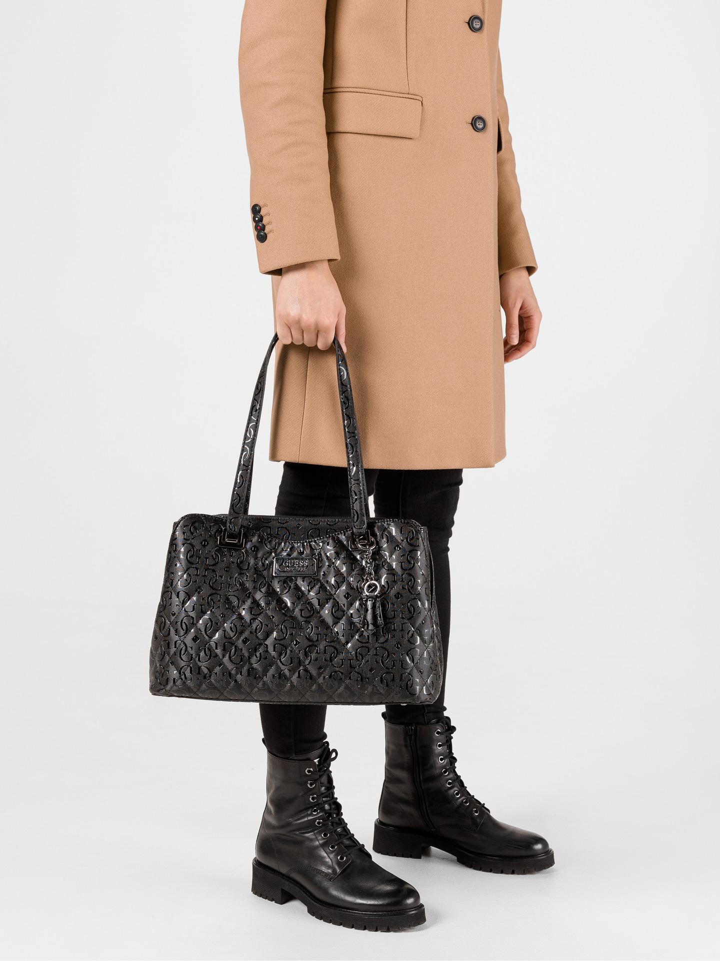 Guess negre geanta Lola Glossy Logo Maxi