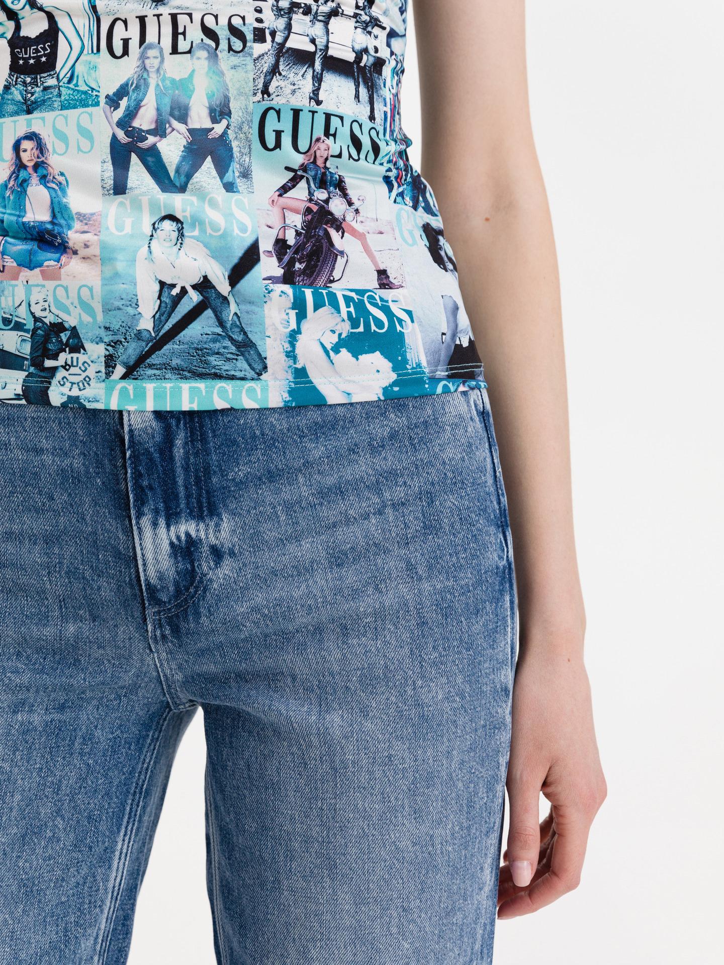 Guess albastre tricou Magazine Print