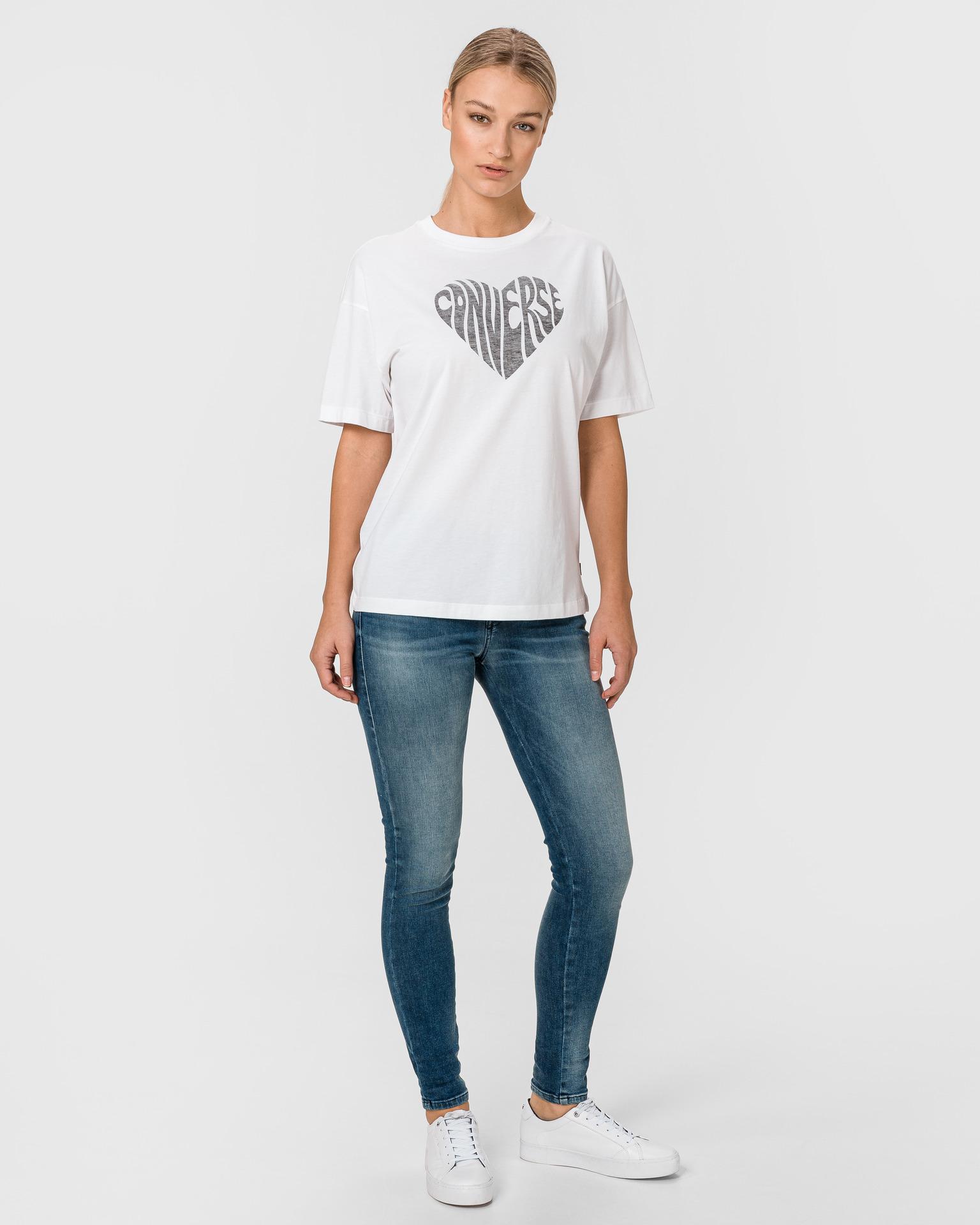 Converse albe de dama tricou Heart Reverse