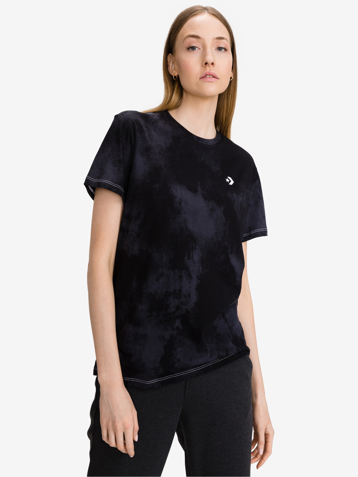 Converse negre de dama tricou Sun Washed Logo