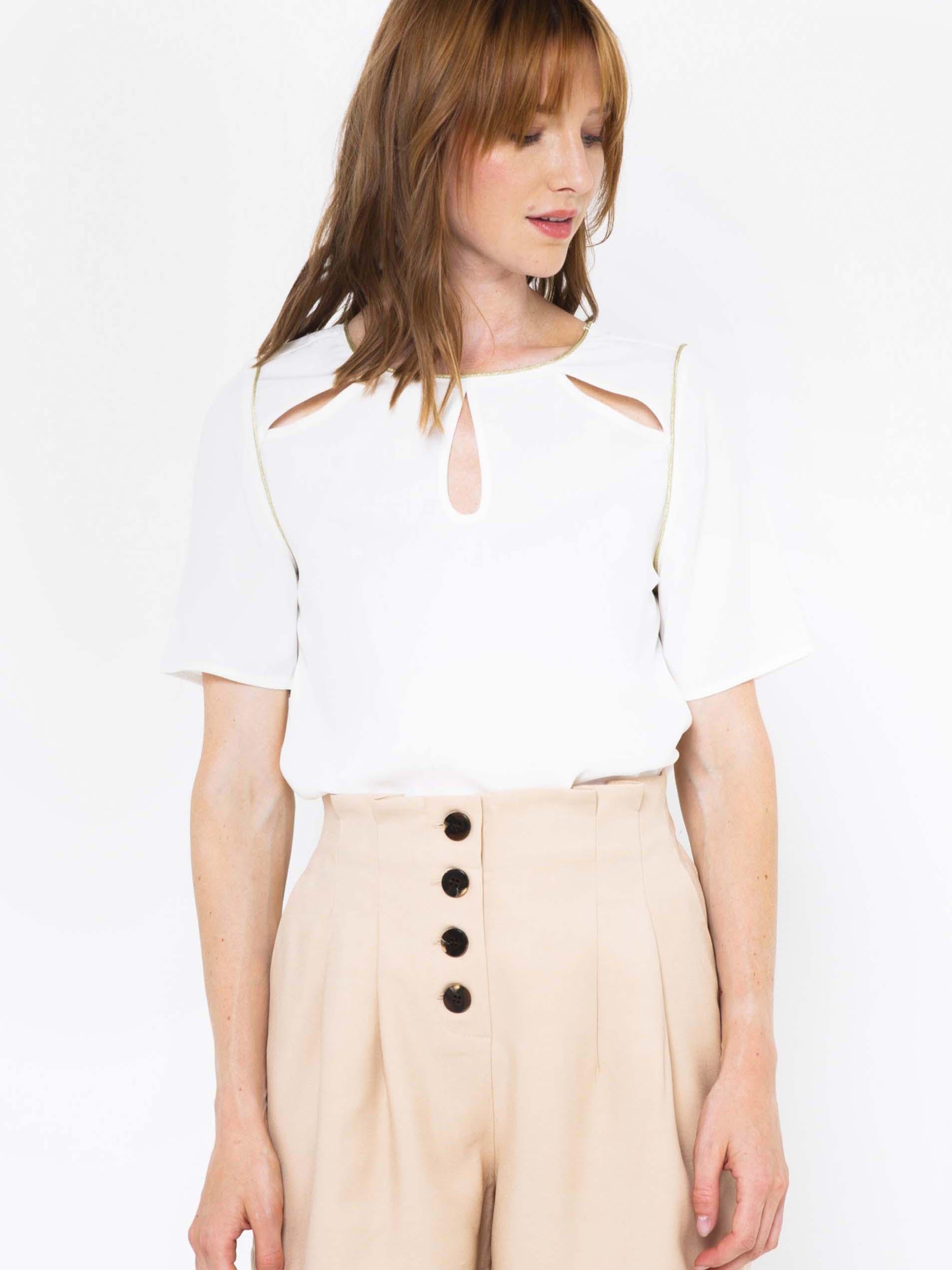 CAMAIEU albe bluză cu decupaje