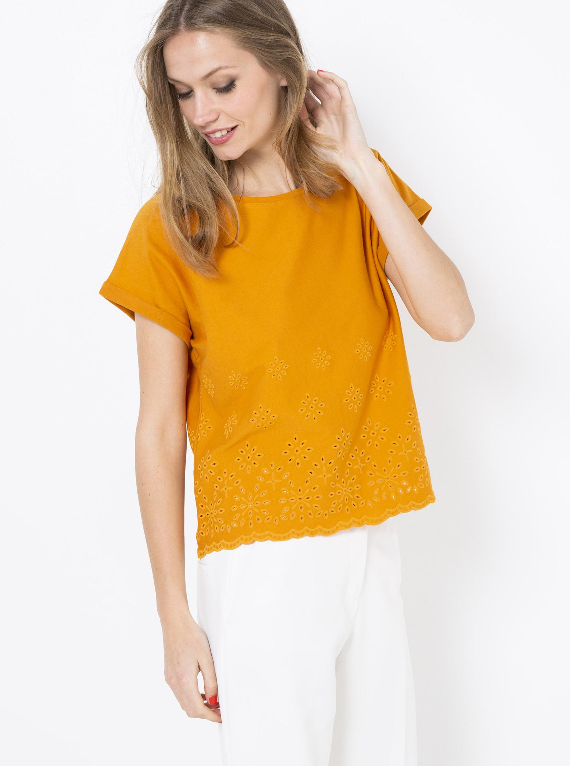 Tricouri pentru femei CAMAIEU - mustar