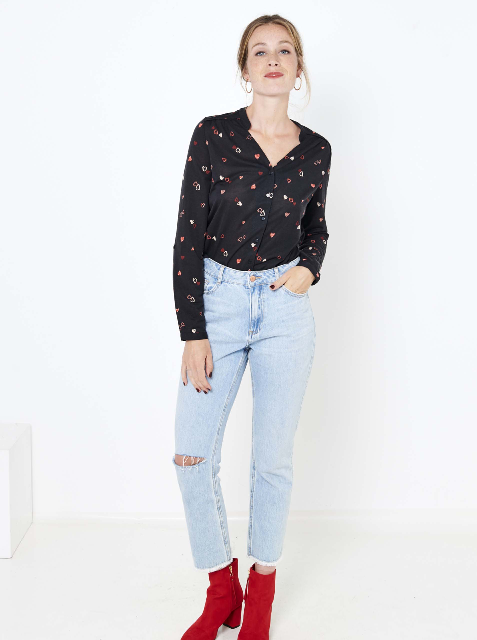 CAMAIEU negre bluză cu tipar