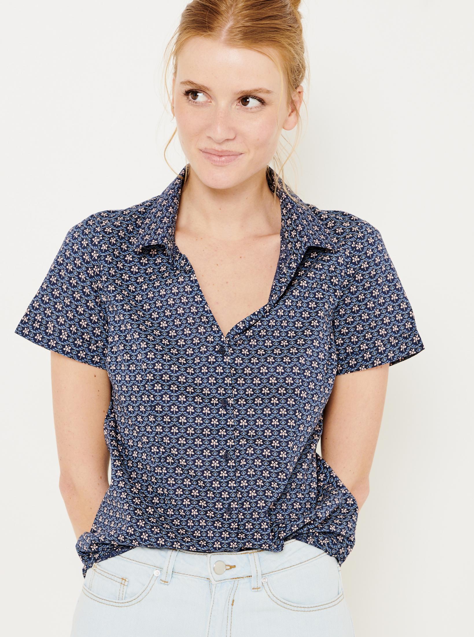 CAMAIEU albastre bluză cu tipar