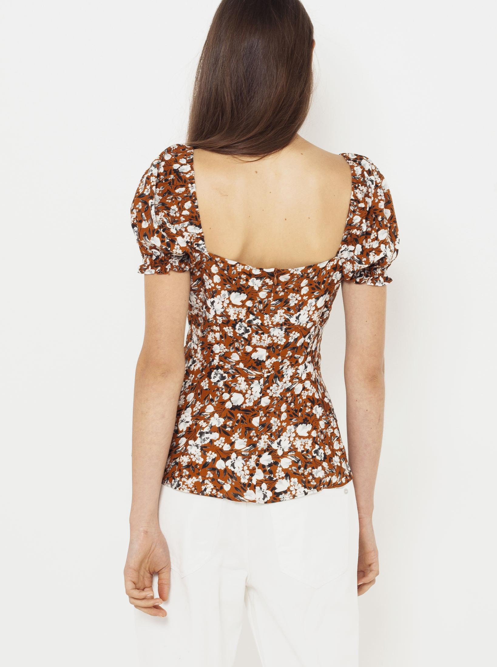 CAMAIEU maronii bluză cu motiv floral