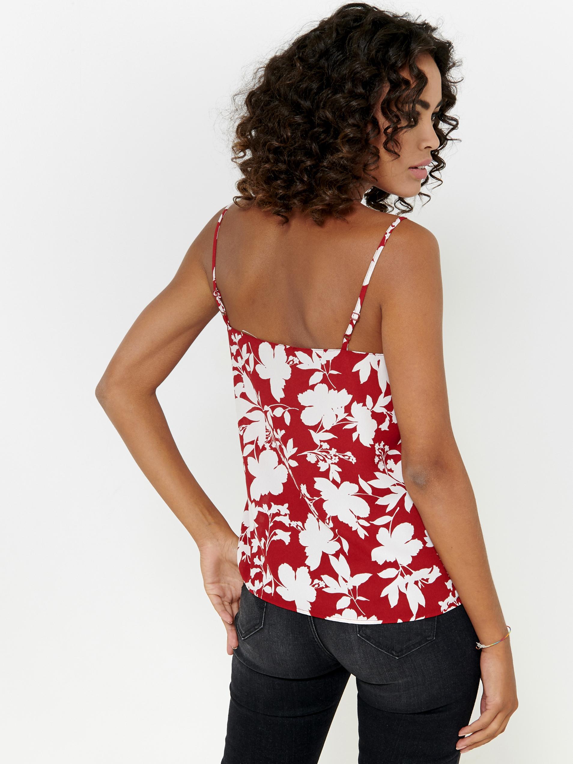 CAMAIEU roșii top cu motiv floral