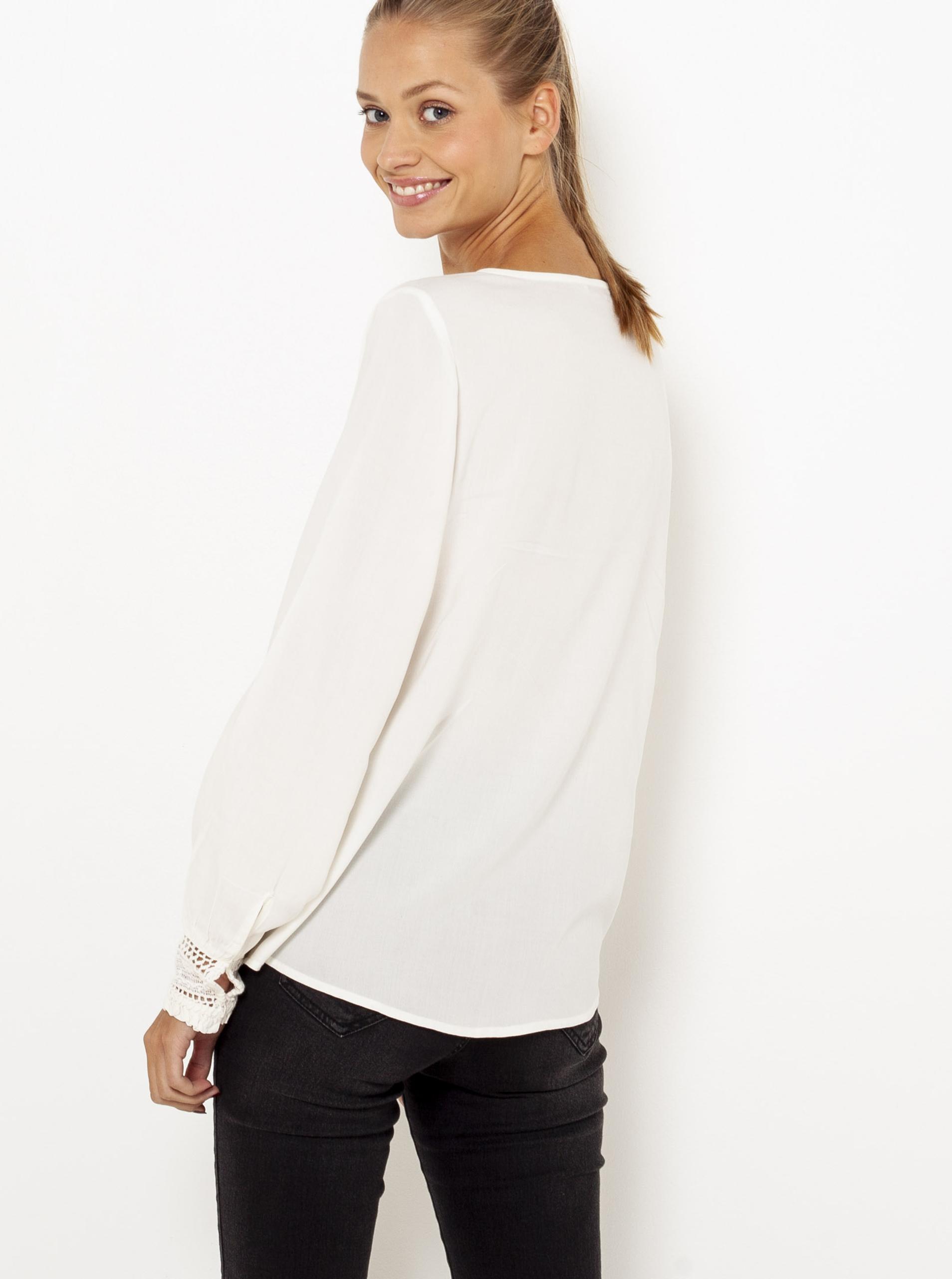 CAMAIEU albe bluză cu dantelă