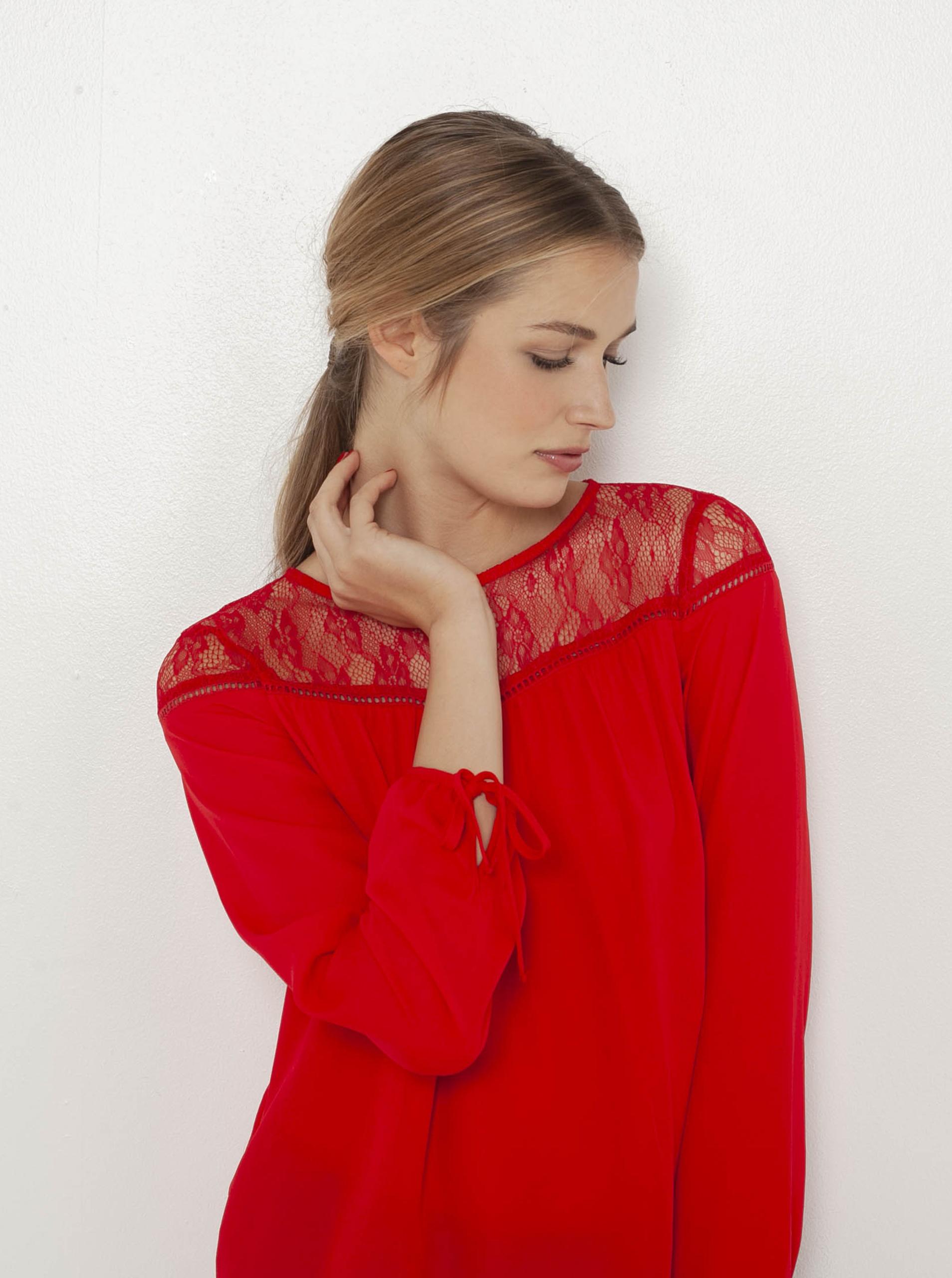 CAMAIEU roșii bluză cu dantelă