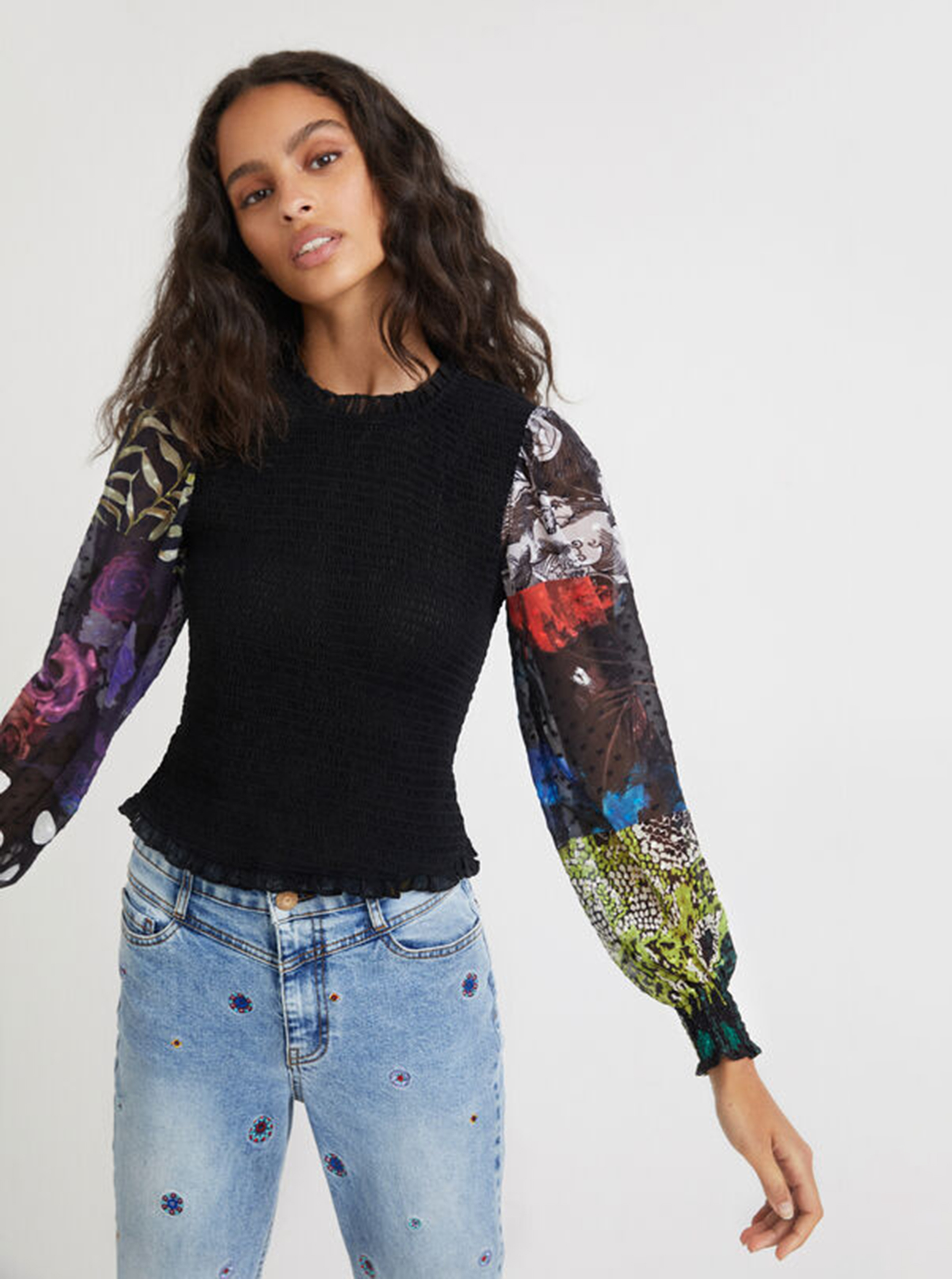 Desigual negre bluză Hamburgo