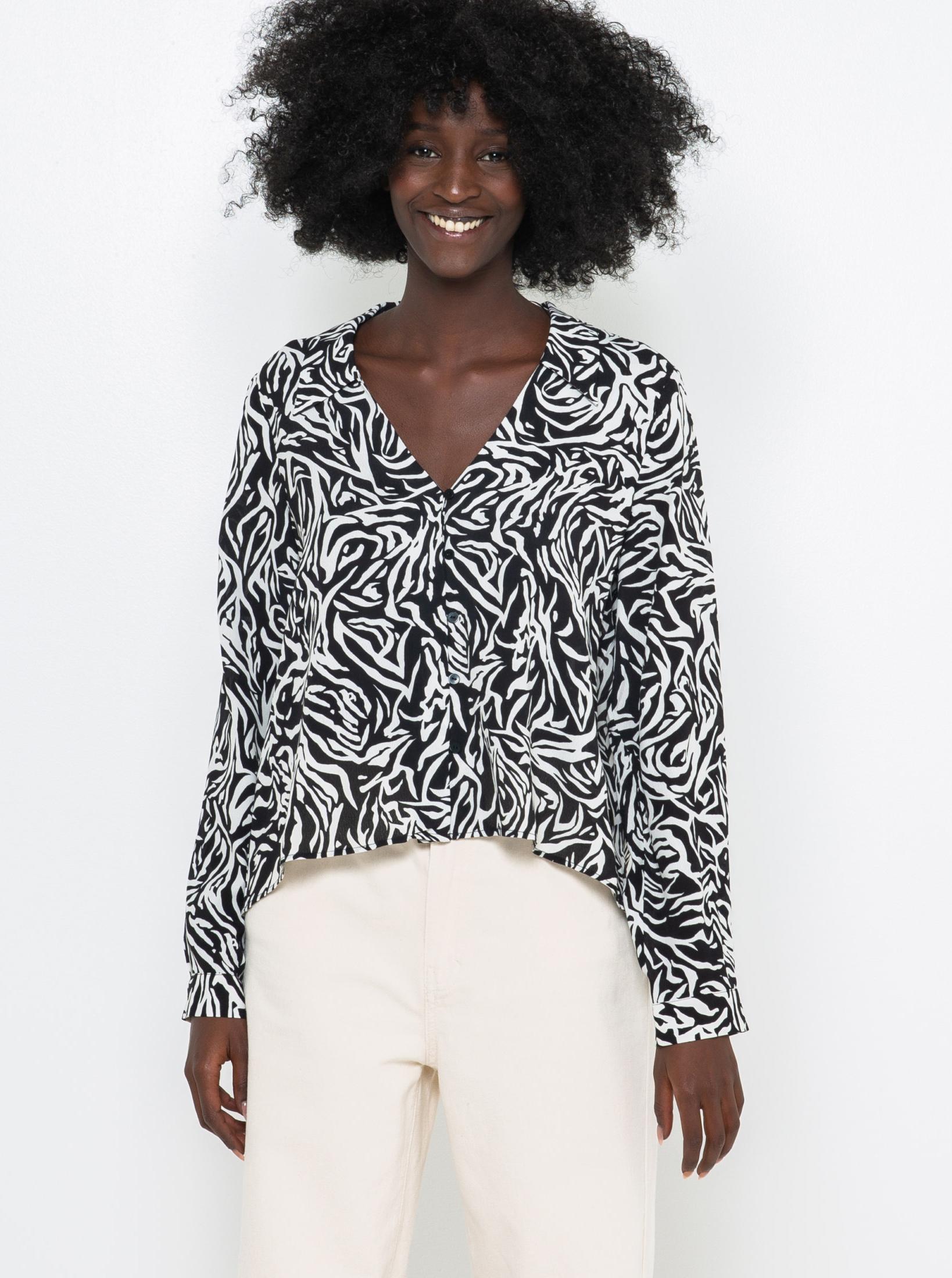 CAMAIEU negre bluză cu model animal