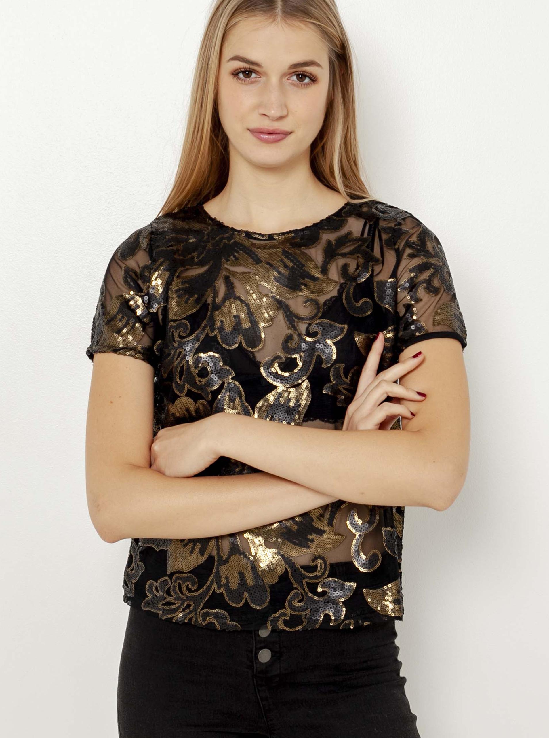 CAMAIEU negre transparent bluză cu motiv floral