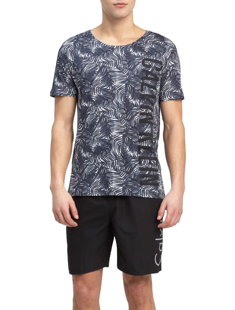 Calvin Klein tricou tropical de barbati Relaxed Crew Tee Jungle Black