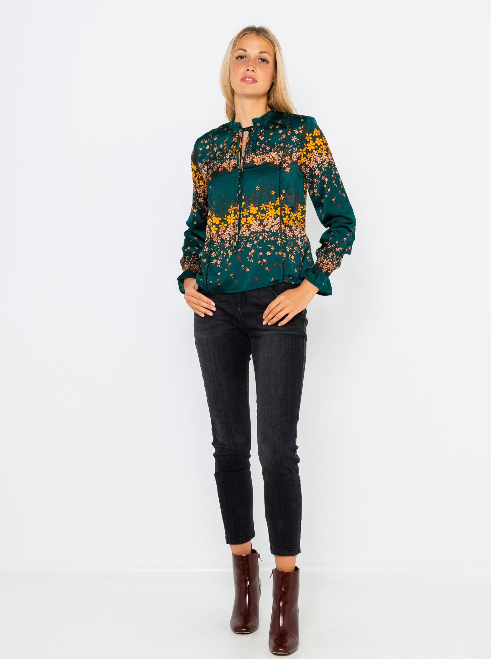 CAMAIEU petrol bluză cu motiv floral