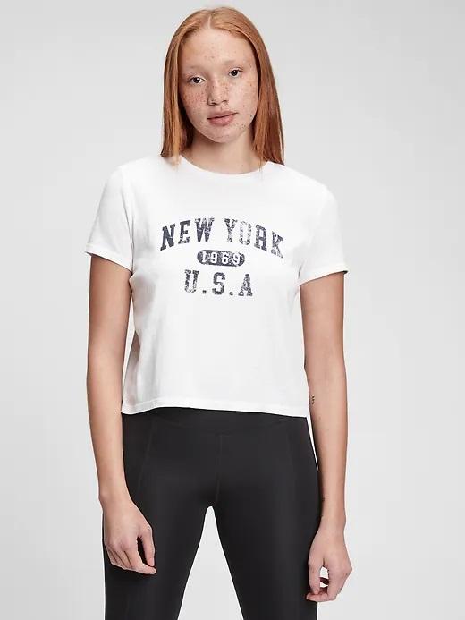 Tricou alb pentru femei, tricou grafic micșorat