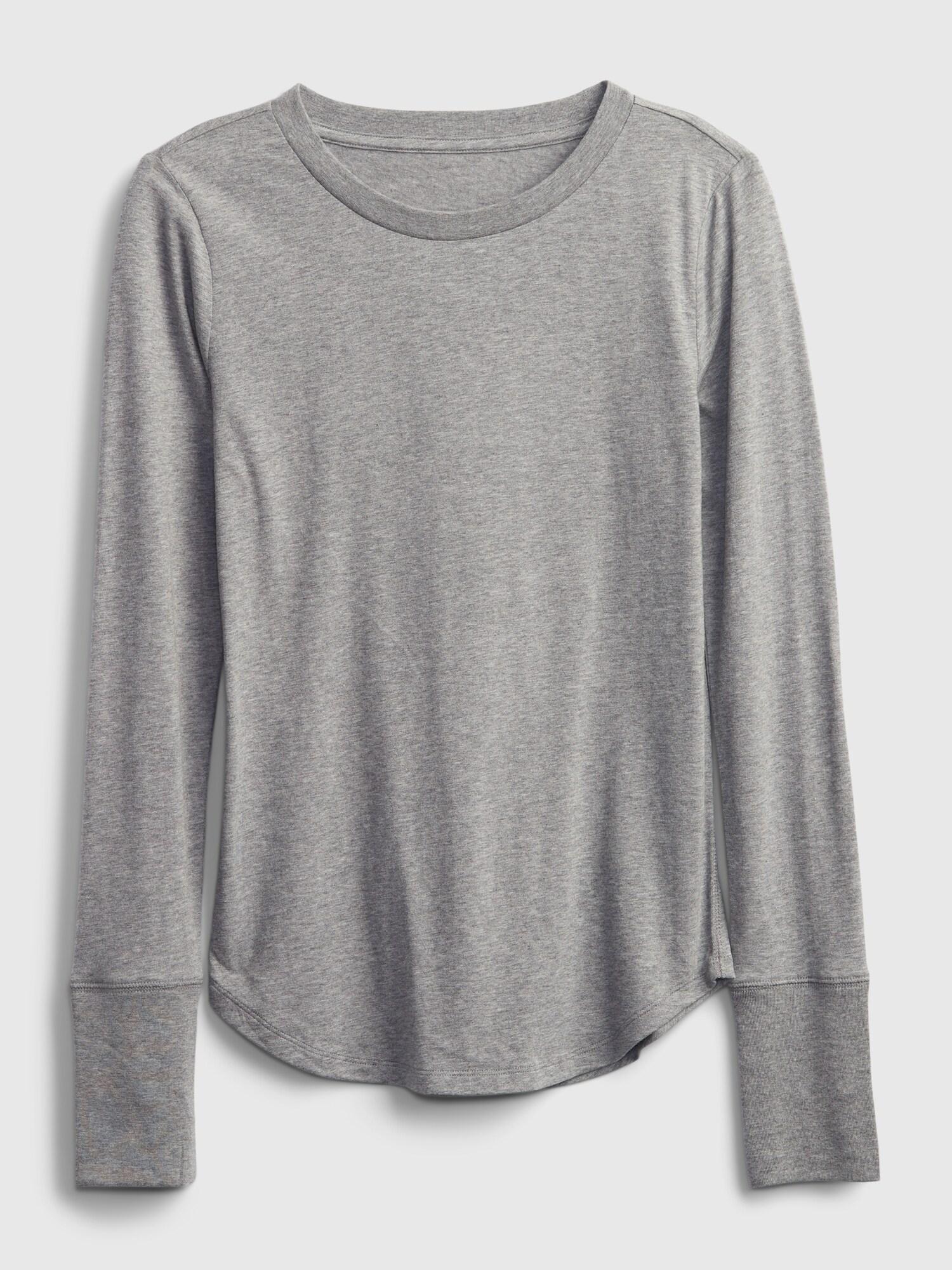 Tricou gri cu mâneci lungi pentru femei