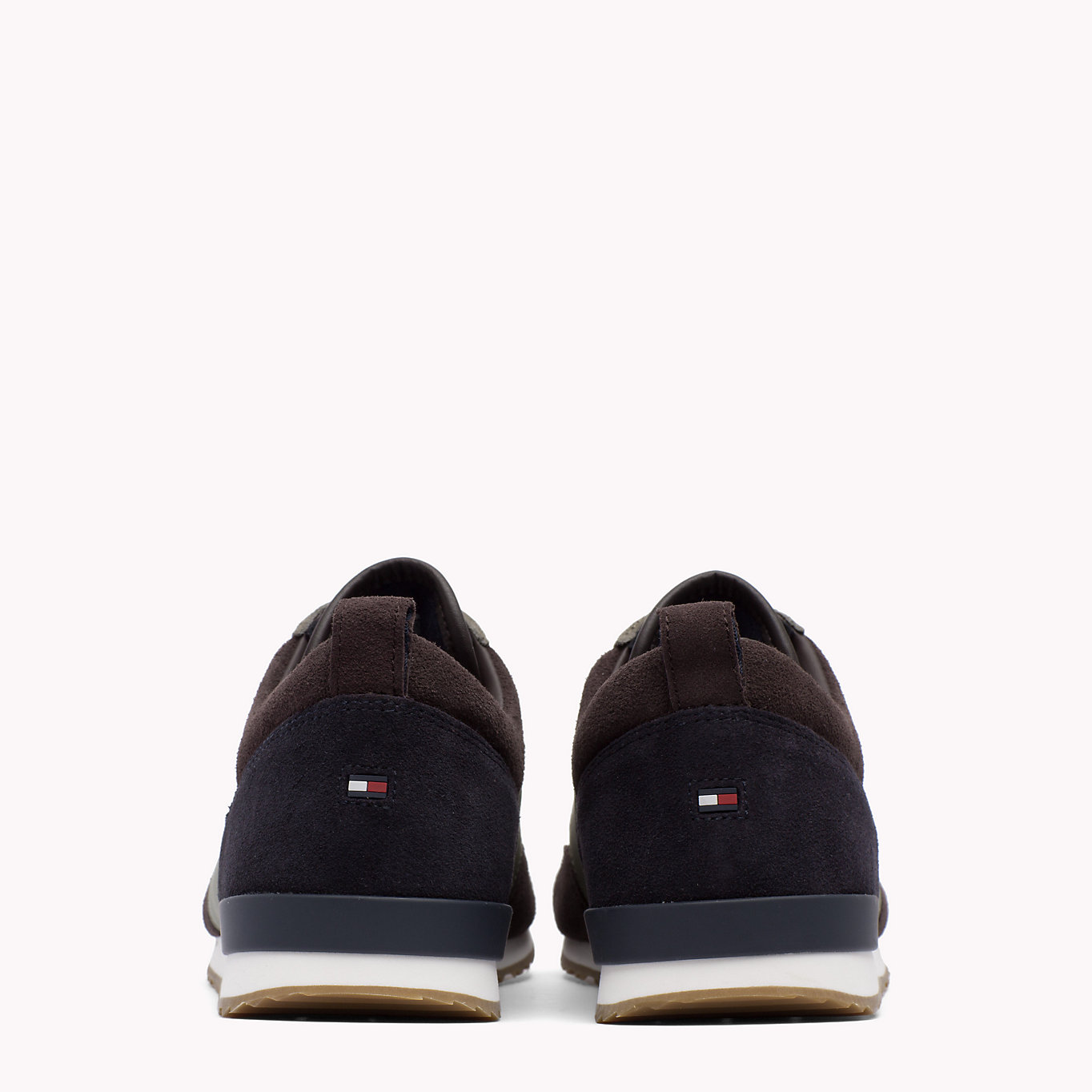 Tommy Hilfiger adidasi din piele pentru barbati Iconic Color Mix Runner Coffeebean/Dusty Olive
