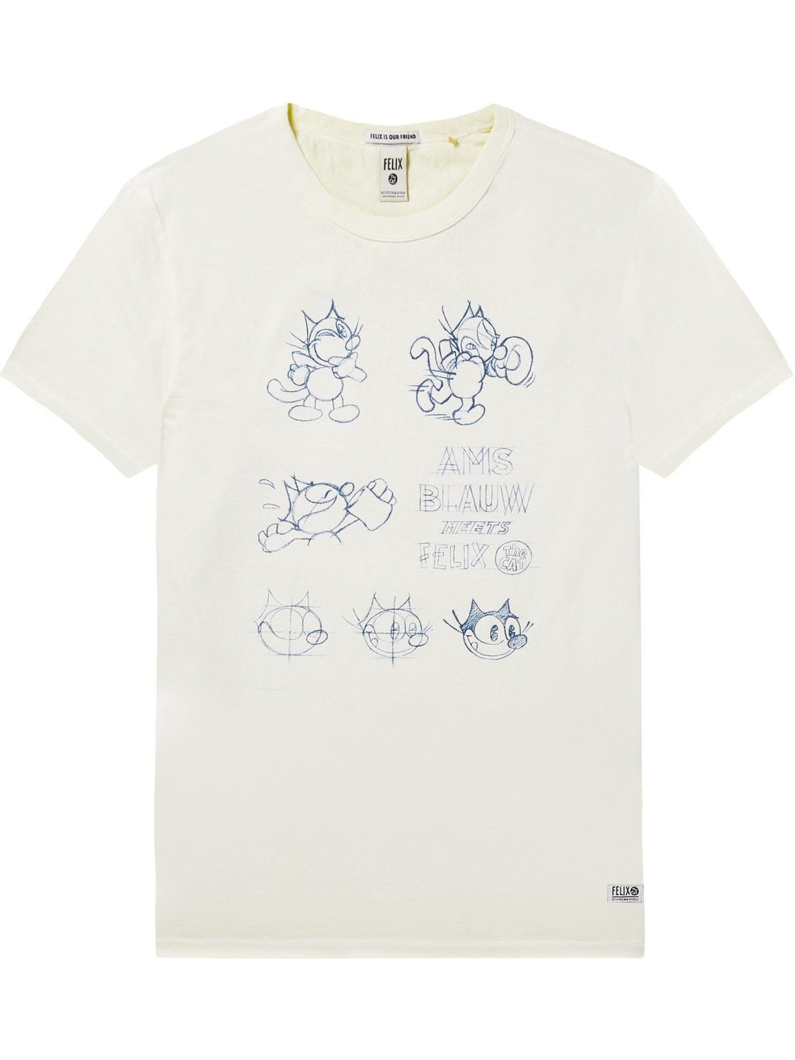 Scotch&Soda tricou alb de bărbați Graphic Artwork Felix the Cat