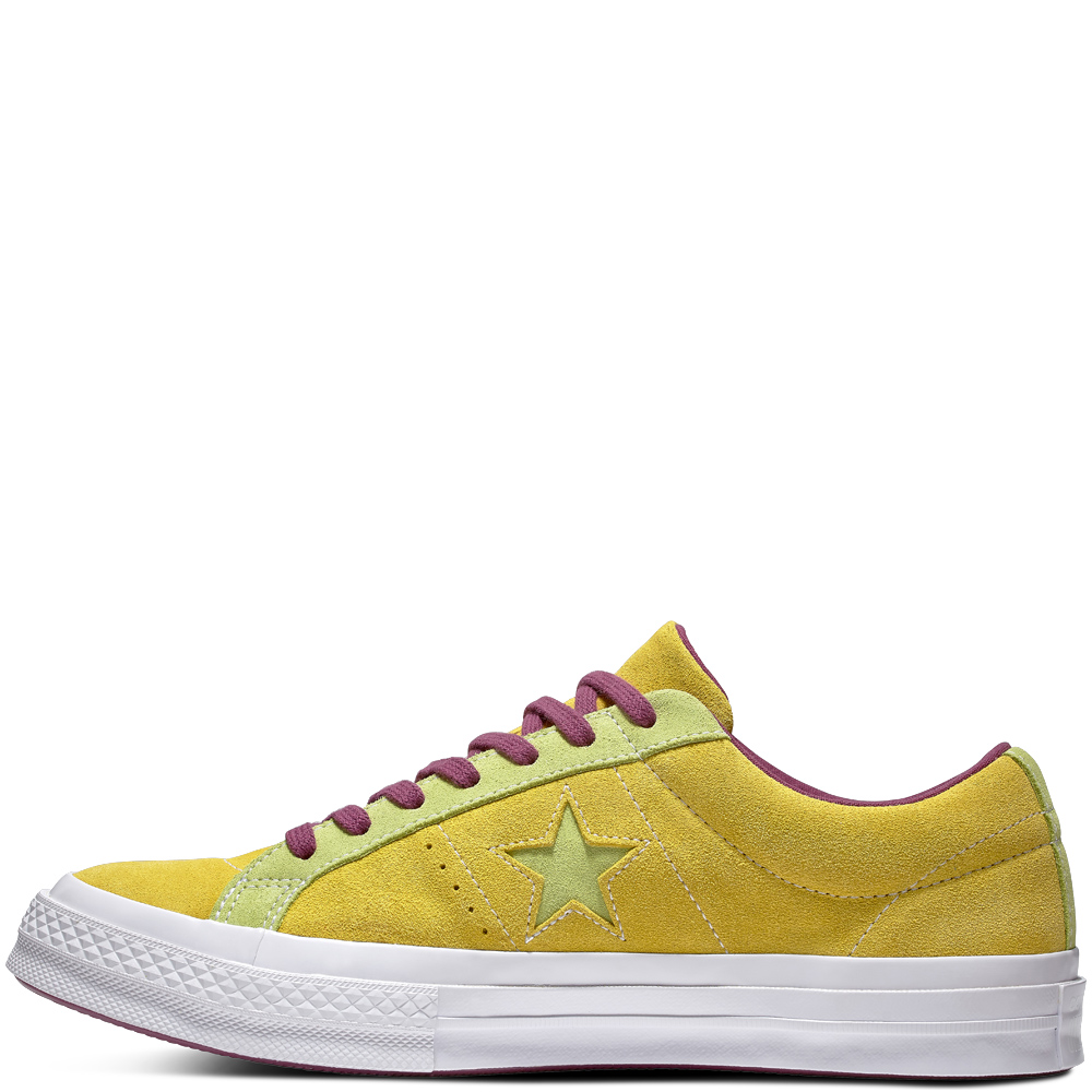 Converse tenisi galbeni unisex din piele intoarsa Chuck Taylor One Star OX Apple Green/Sharp Green