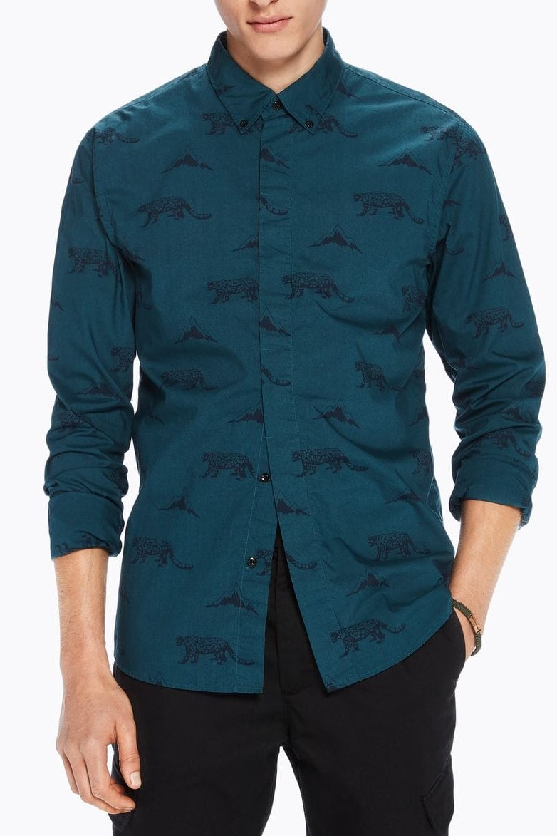 Scotch & Soda camasa verde Artwork