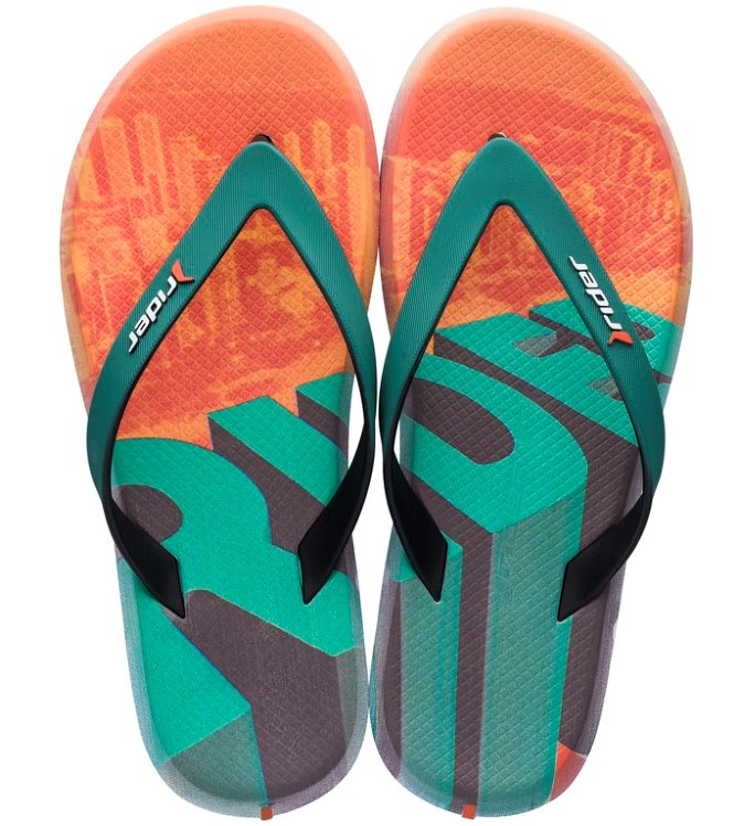 Rider flip-flops colorati de barbati R1 Energy Ad Black/Green/Orange