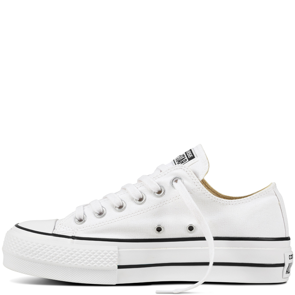 Converse tenisi albi cu platformă Chuck Taylor All Star Lift Ox White/Black