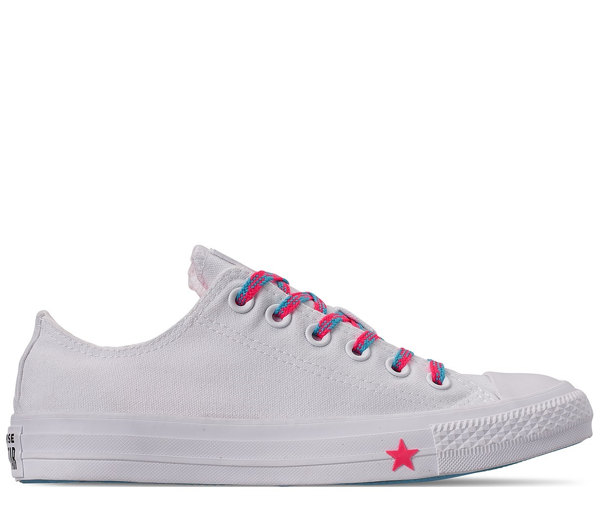 Converse tenisi albi Chuck Taylor All Star OX White/Race Pink/Gnarly Blue