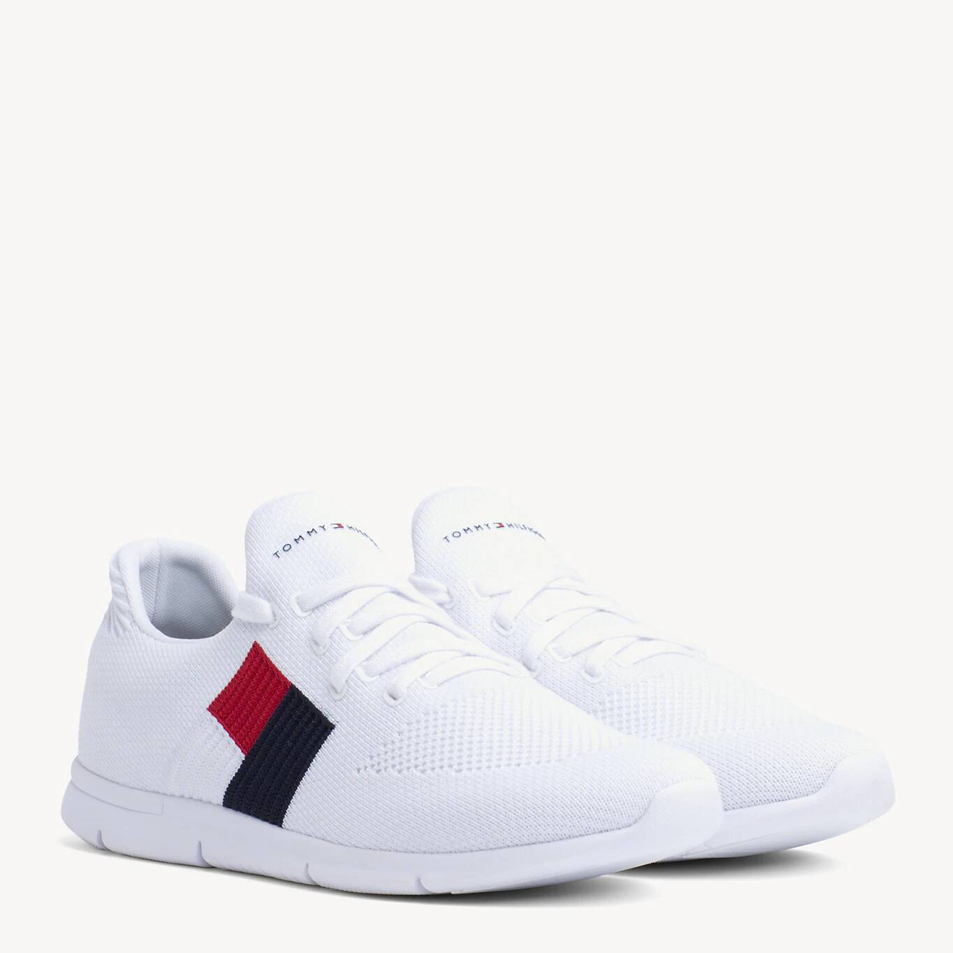 Tommy Hilfiger adidasi albi Knitted Flag Light Sneaker White