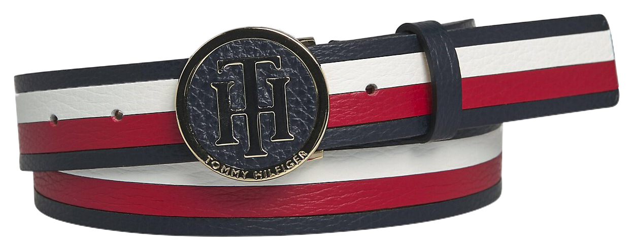 Tommy Hilfiger curea colorata din piele TH Round Buckle Belt 3.0 Corporate