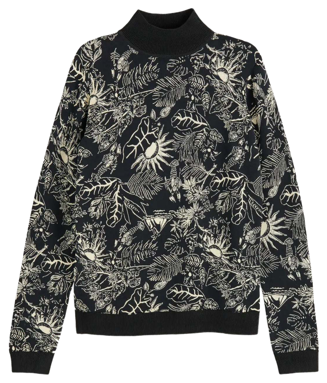 Scotch & Soda helancă bej-neagra Leaves&Sun