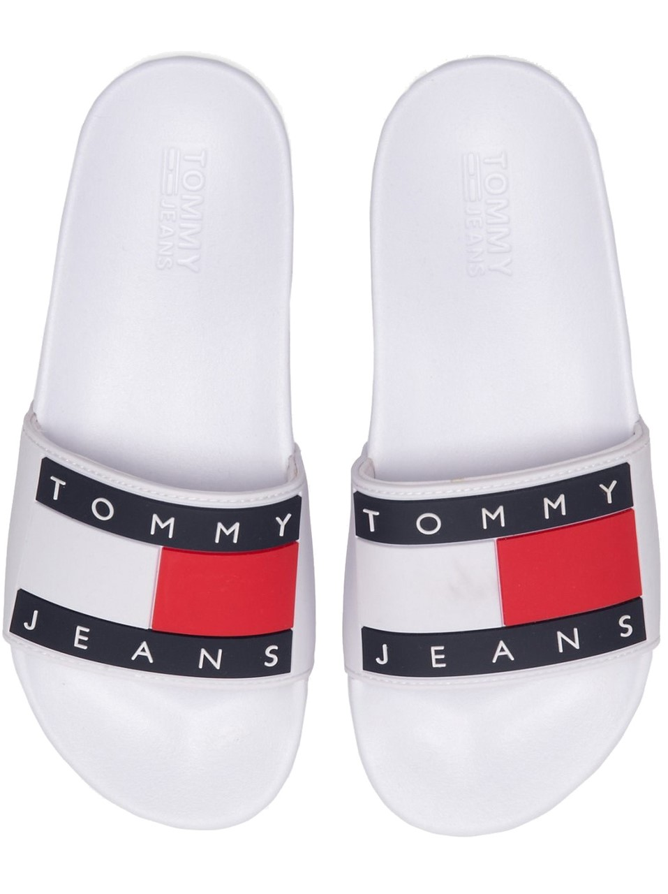 Tommy Hilfiger papuci albi Tommy Jeans Flag Pool Slide White