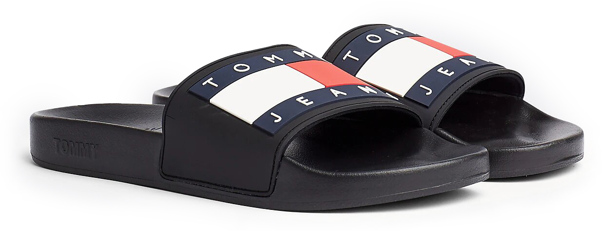 Tommy Hilfiger papuci negri de barbati Tommy Jeans Flag Pool Slide Black