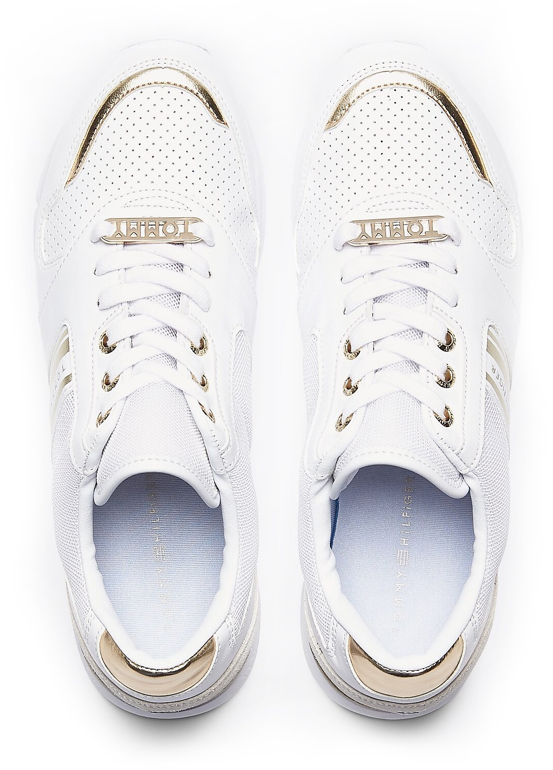 Tommy Hilfiger adidasi albi Metallic Lightweight Sneaker White/Light Gold