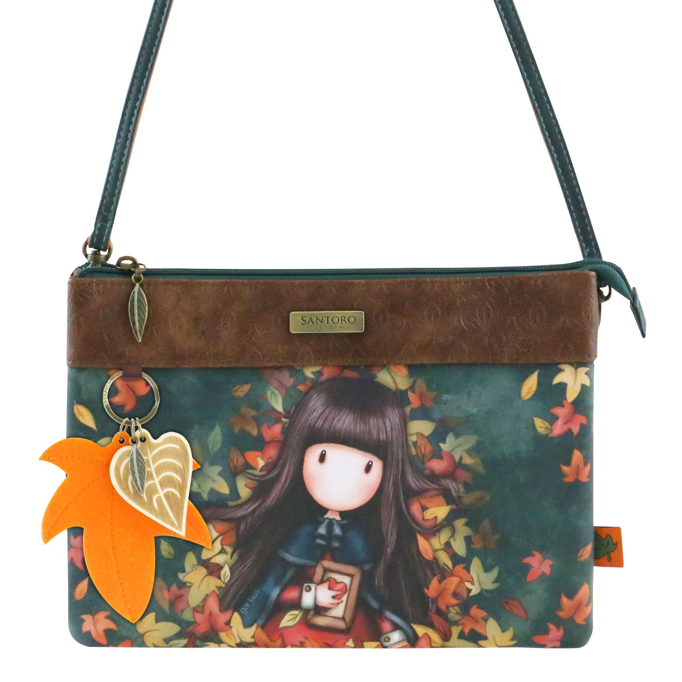 Santoro poseta petrol crossbody Gorjuss Autumn Leaves