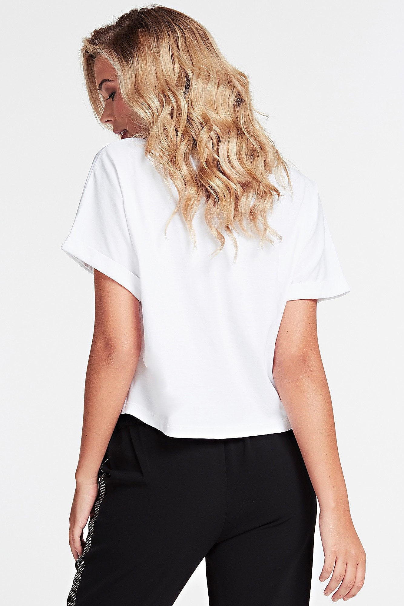 Guess tricou alb T-shirt With Jewel
