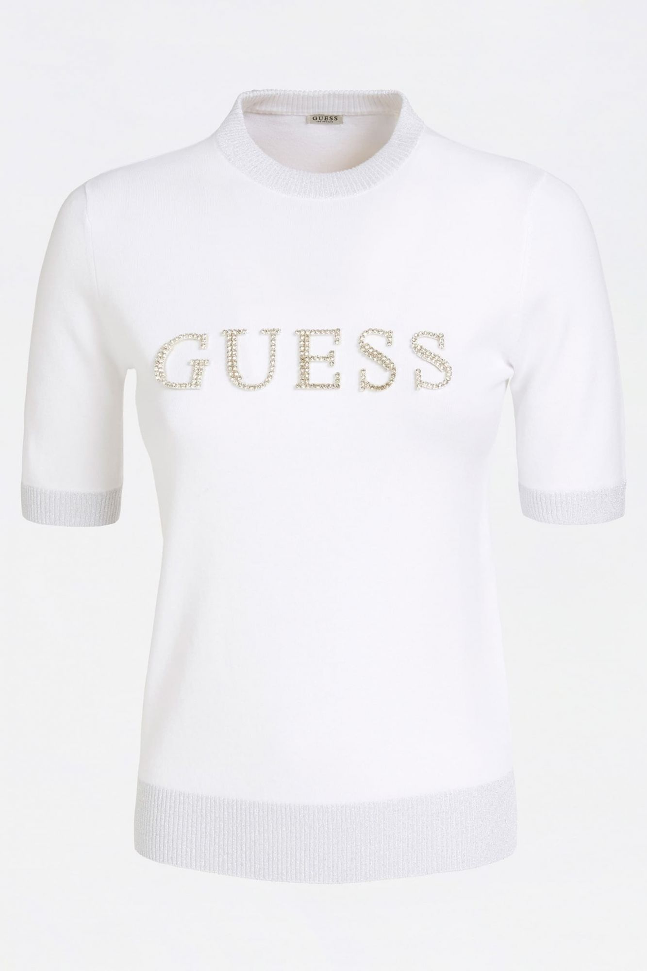 Guess pulover alb Jewel Sweater