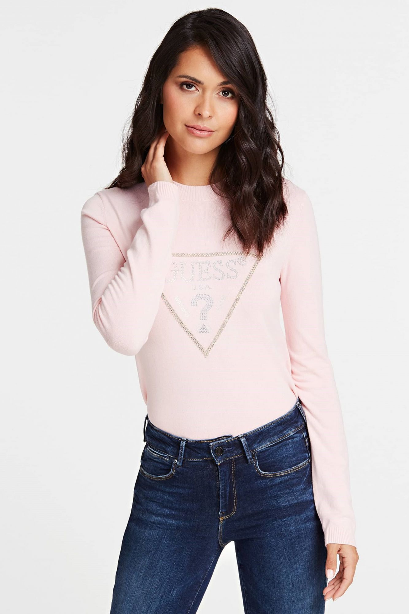 Guess pulover pudra Jewel Sweater